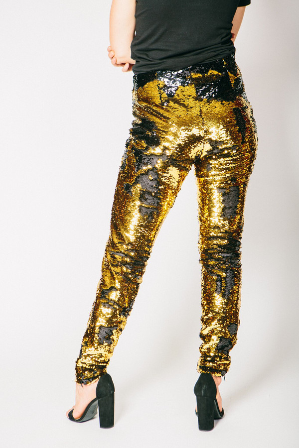 Any Old Iron Gold/Black Sequin Trousers
