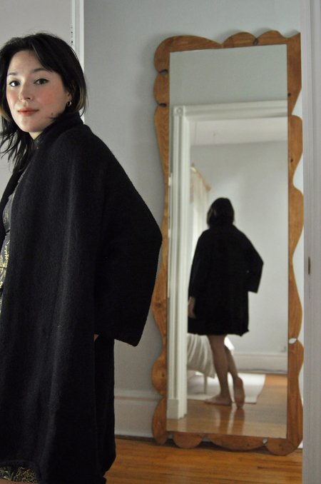 UNISEX FFORM Shawl Collar Overcoat - Black