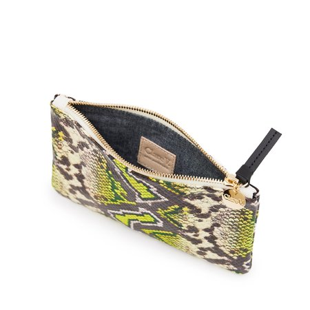 Clare V. Wallet Clutch - Yellow Riveria Snake