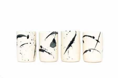 earl home CERAMIC TUMBLER - black splatter pattern