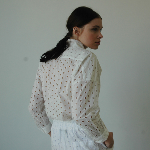 Nikki Chasin Ada Eyelet Buttondown - White