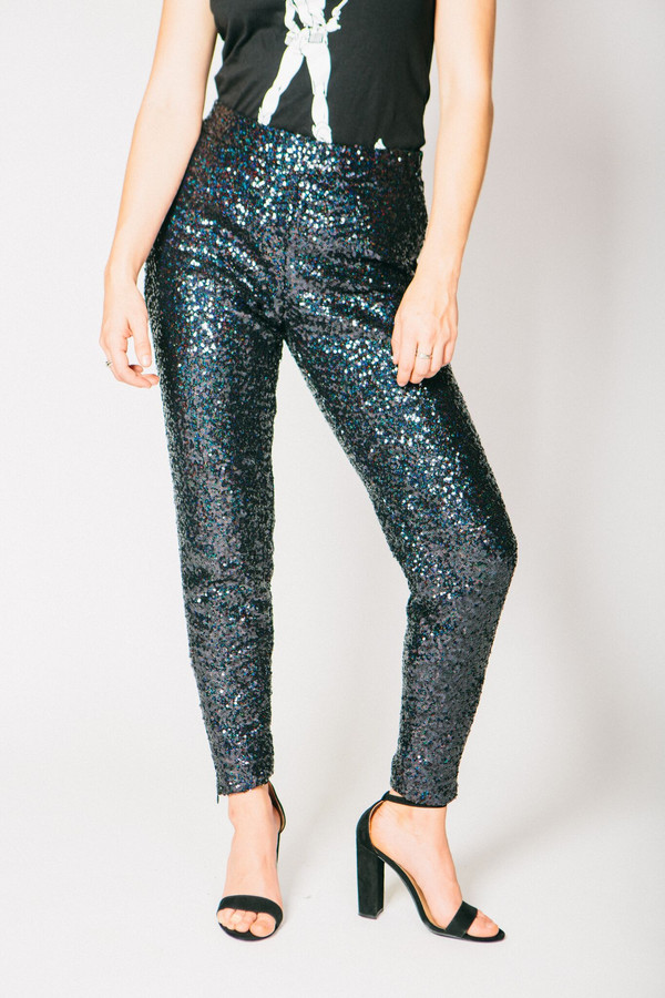 Any Old Iron Black Sequined Trousers