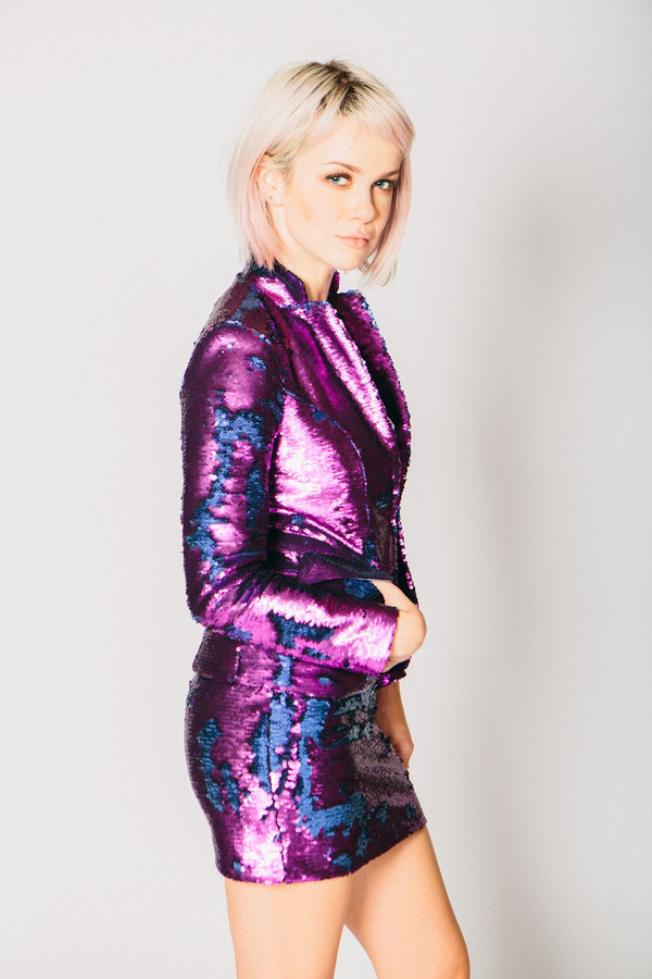 Any Old Iron Purple/Blue Sequin Suit Jacket