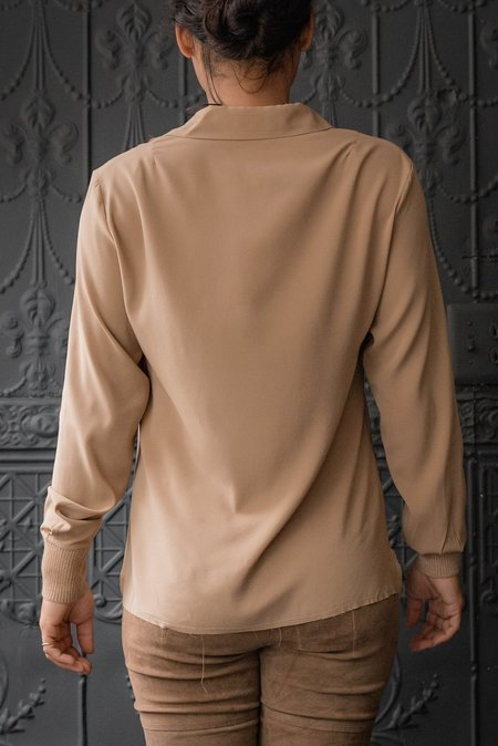 Kristensen du Nord Silk Satin Shirt - dark camel