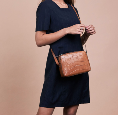 O My Bag Sue Croco Classic Leather bag - Cognac
