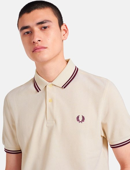 Fred Perry Twin Tipped Polo Shirt - Vanilla/White Oxford/Mahogany
