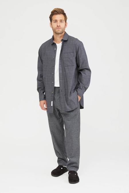 Engineered Garments Cotton Glen Plaid Rounded Collar Shirt - Grey