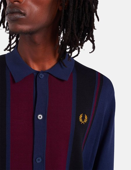 Fred Perry Colour Block Knitted Shirt - Dark Carbon