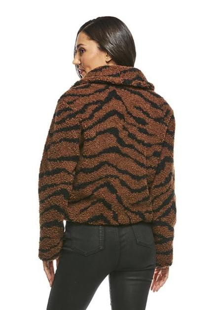 Fabulous Furs Sherpa Faux Fur Cropped Jacket - Tiger