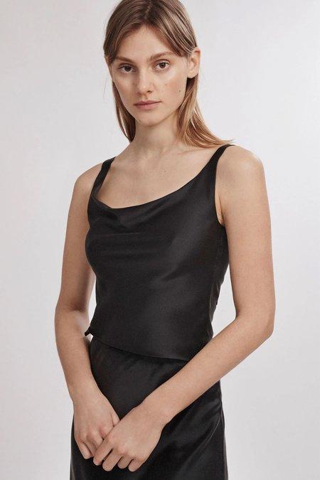 Silk Laundry Wide Neck Silk Top - Black