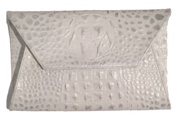 Oliveve cleo envelope clutch in white/silver hornback embossed cow leather