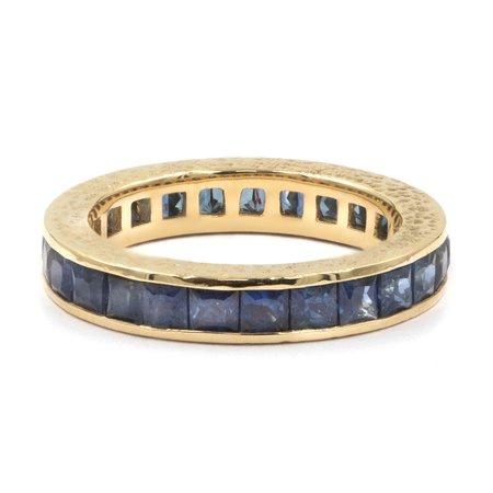 Octavia Elizabeth Fine Jewelry Blue Sapphire Ivy Eternity Ring Band - 18K Gold