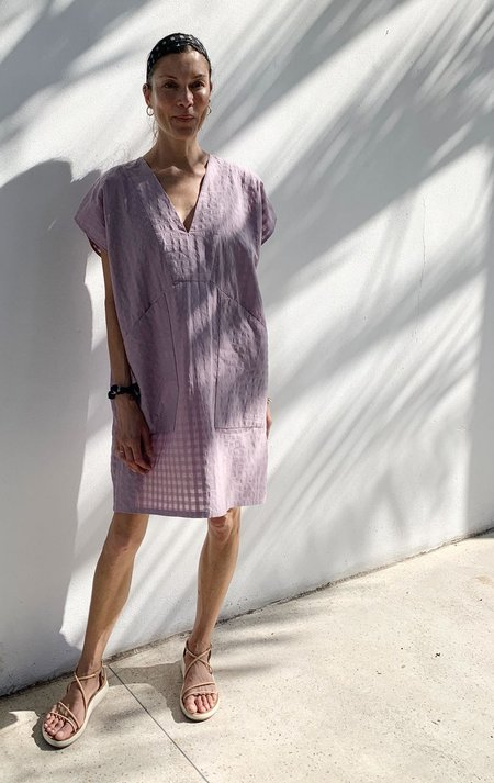 Two Diagonal Pocket Tunic - Putty/Mauve