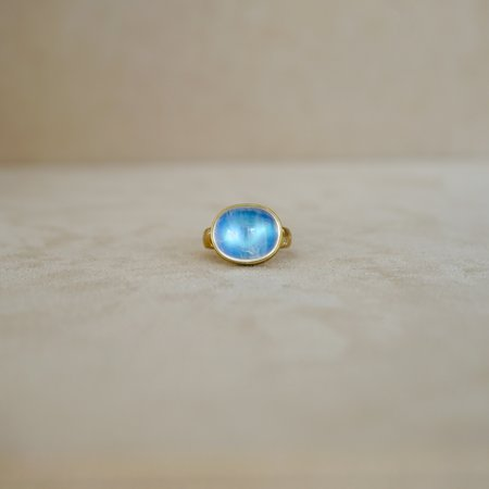 Tony Malmed Jewelry Large East West Blue Moonstone Ring - 18 kt Gold