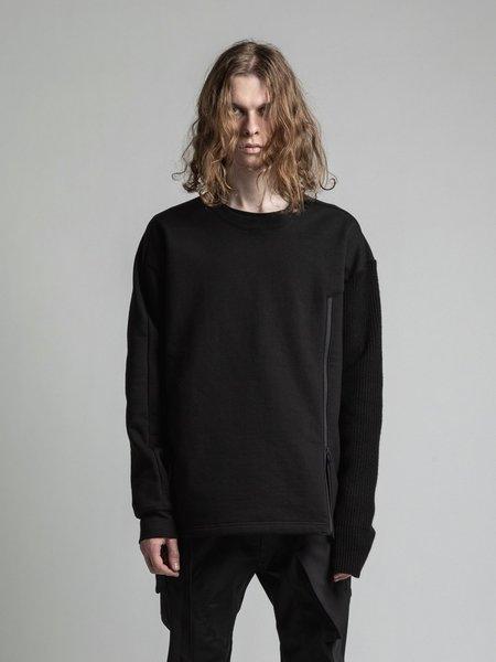 The Viridi-Anne Fleece Single Sleeve Knit Sweatshirt - Black