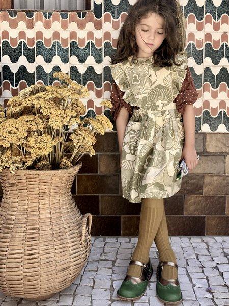 KIDS Bonjour Apron Pinafore Dress - Moss Flower