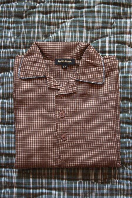 Kids Bonjour Pajama Set - Caramel Vichy Check