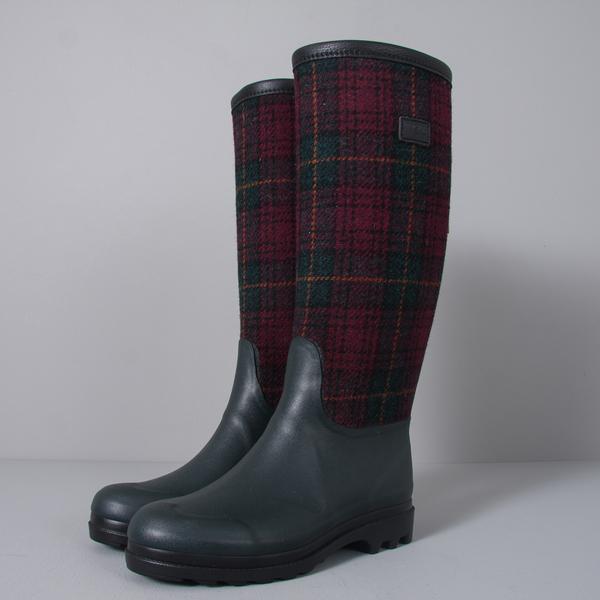 Aigle x Harris Tweed Boot in Berry