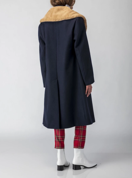 Suzanne Rae Double Face Wool Coat - Navy