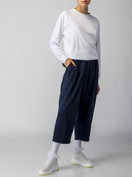 Suzanne Rae Stretch Charmeuse Elastic Waist Pant - Navy