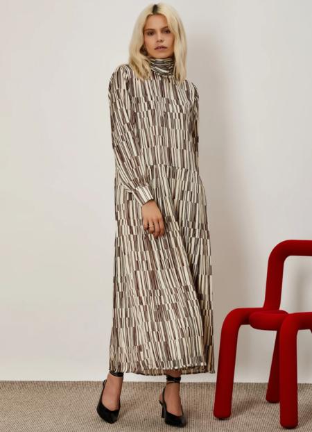 Sister Jane Overlap Lines Pleated Midi Dress -