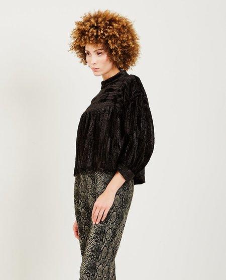 Anna Sui Vampira Crinkle Velvet Crop Top - Black
