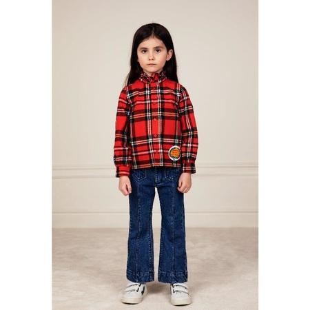 kids mini rodini woven flannel blouse - red