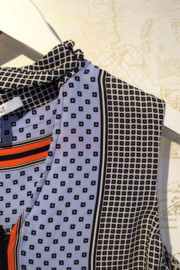 Derek Lam 10 Crosby Printed Blouse with Choker Detail