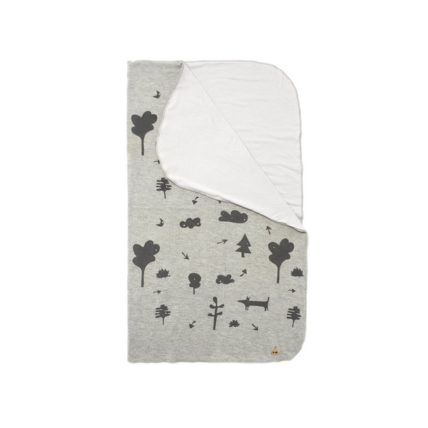 OMAMImini Heather Grey Baby Blanket with Secret Forest Print