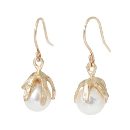 Lauren Wolf Baroque White Akoya Pearl Claw Drop Earrings - 14k Yellow Gold
