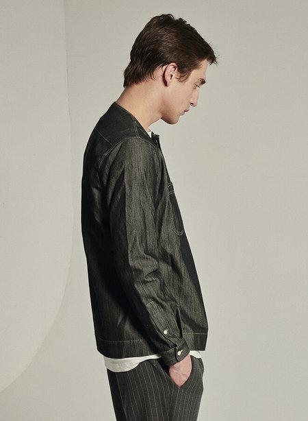 Delikatessen Collarless Shirt in Italian Fabric - Grey/Indigo