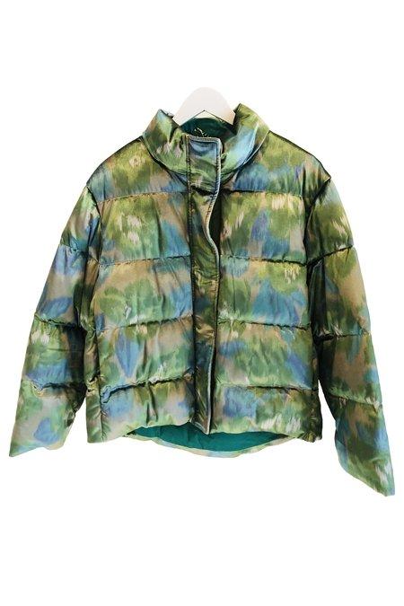 Maliparmi Serenade Flower Puffer Jacket - Green/Blue