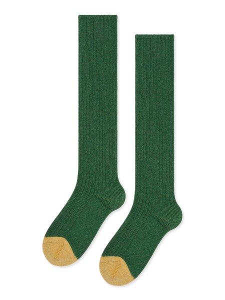 Hansel From Basel Skinny Rib Cashmere Knee Hi Socks - Kermit Green