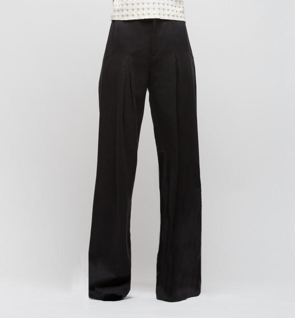 H. Fredriksson Pleat Long Pant Black