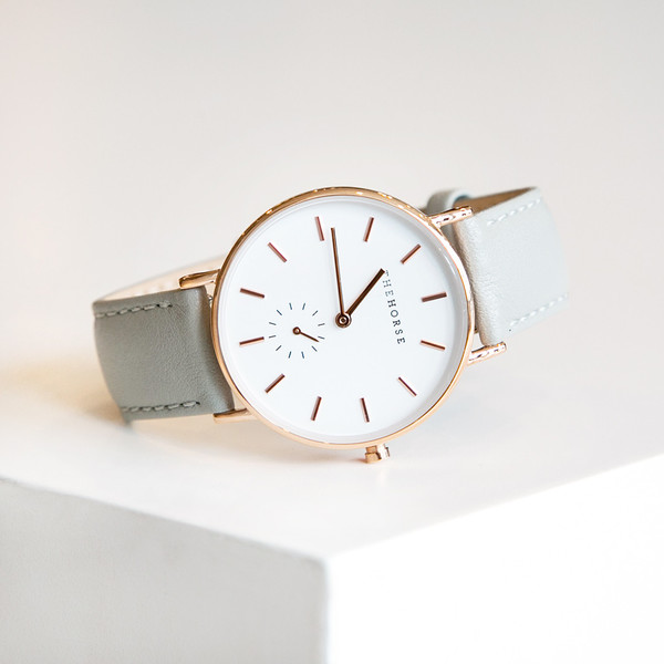 The Horse B1 Classic Polished Rose Gold Grey Band