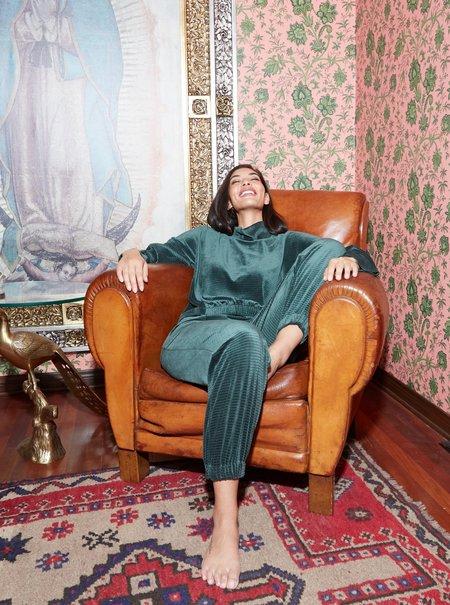 THE ODELLS Hi Lo Mock Neck pullover - HUNTER GREEN