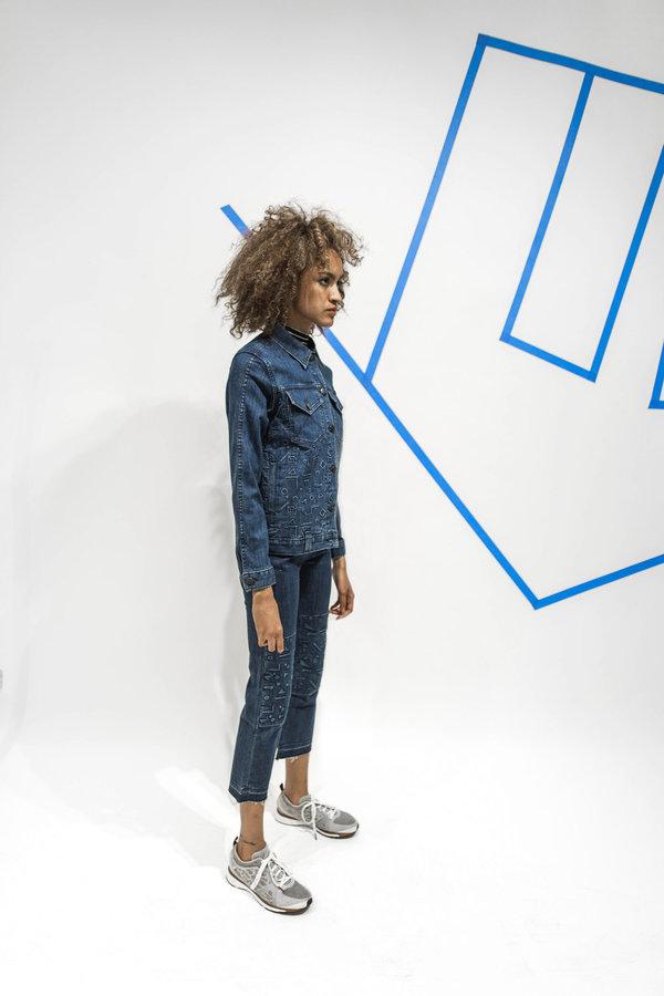 Alyssa Less Debbie Jacket - Blue Floating Shapes