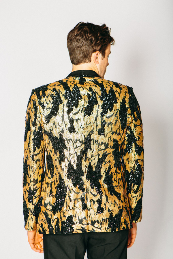 Men's Any Old Iron Black and Gold Sequin Blazer