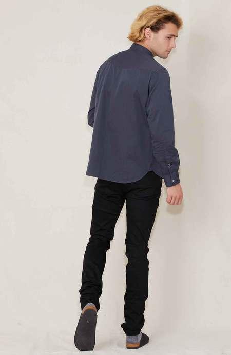 Officine Generale Lipp Stitch Twill Cotton Shirt - Asphalt