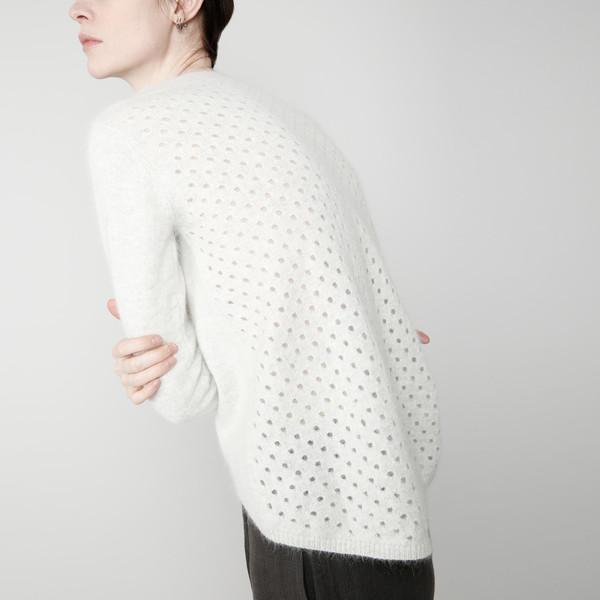 7115 by Szeki Angora Peephole Sweater - Navy