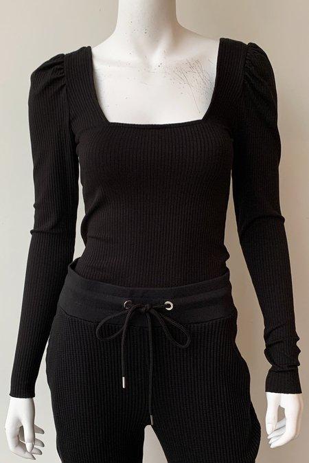 The Range Alloy Rib Square Neck Puff Sleeve Top - Black
