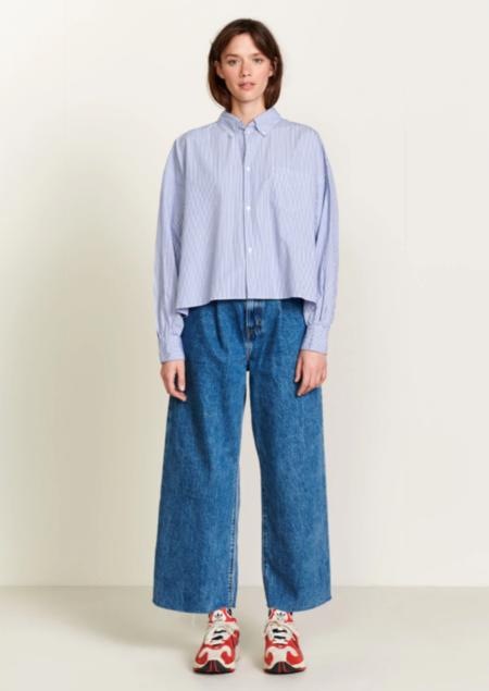 Bellerose Graff Shirt - Blue & White Pinstripe