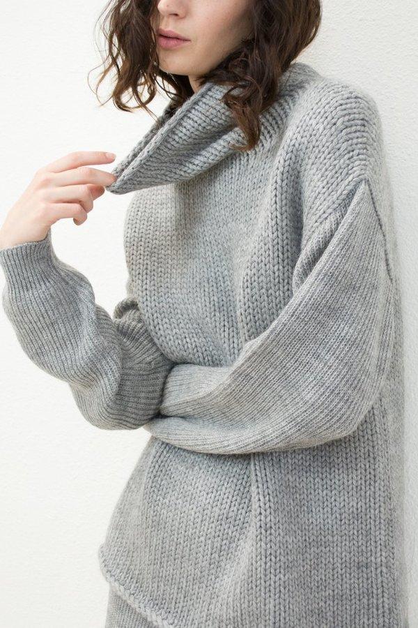 Micaela Greg Funnel Neck Sweater - Melange Grey
