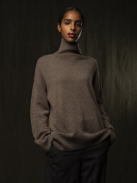 Pure Cashmere NYC High Neck Oversized Sweater - Heather Brown
