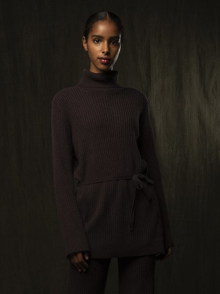 Pure Cashmere NYC Long Turtleneck Loose Fit Tunic - Castle Brown