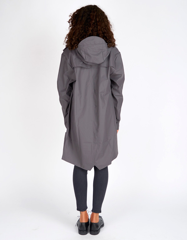 Rains Long Jacket Smoke