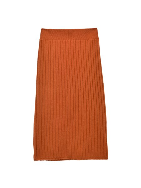 Pure Cashmere NYC Rib Midi Skirt - Heather Orange