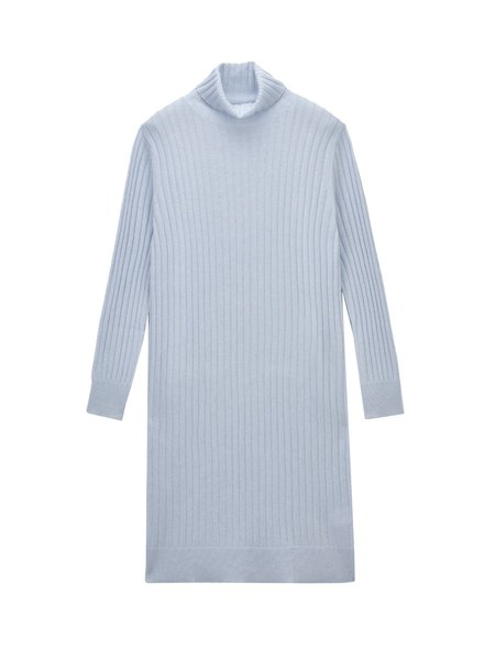 Pure Cashmere NYC Rib Turtleneck Dress - Baby Blue