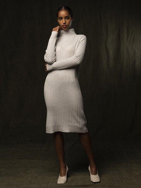 Pure Cashmere NYC Rib Turtleneck Dress - Light Grey