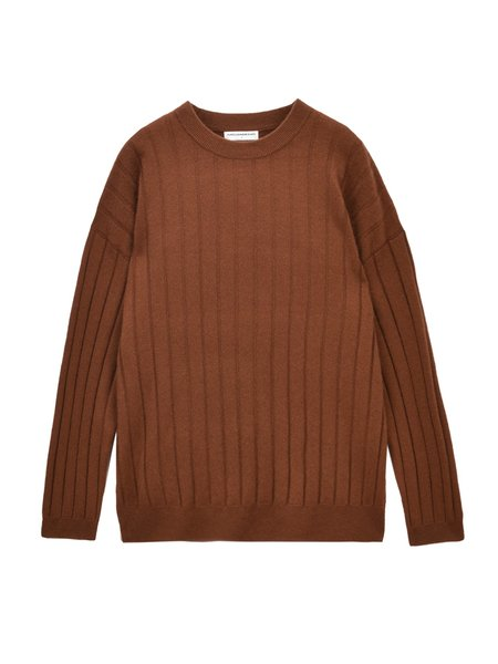 Pure Cashmere NYC Ribbed Crew Neck Sweater - Sienna
